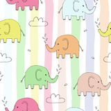 Cute seamless pattern with funny elephant. vector illustration Stock Images