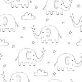 Cute seamless pattern with funny elephant. vector illustration Royalty Free Stock Images