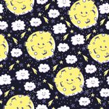 Cute seamless pattern with funny moon, clouds and stars. Stock Photo