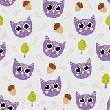 Cute seamless pattern with funny owl Royalty Free Stock Images