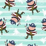 Cute seamless pattern with funny pirate. vector illustration. Royalty Free Stock Photo