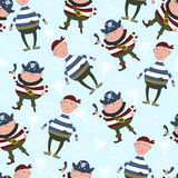 Cute seamless pattern with funny pirate. vector illustration. Stock Photography