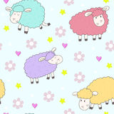 Cute seamless pattern with funny sheep. vector illustration Royalty Free Stock Photography
