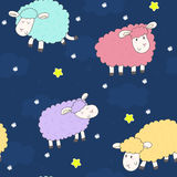 Cute seamless pattern with funny sheep. vector illustration Stock Photos