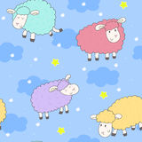 Cute seamless pattern with funny sheep. vector illustration Royalty Free Stock Photos