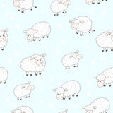 Cute seamless pattern with funny sheep. vector illustration Royalty Free Stock Photo