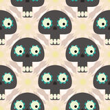 Cute seamless pattern with funny skulls and flowers Royalty Free Stock Photo