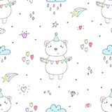 Cute seamless pattern with funny teddy bear. vector illustration Royalty Free Stock Image