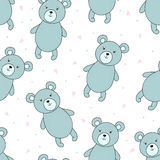 Cute seamless pattern with funny teddy bear. vector illustration Stock Photos