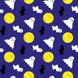 Cute seamless pattern with halloween ghosts and moon. stock illustration