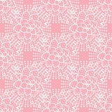Vector Cute seamless pattern. Hand drawing white flower lace on pink background. stock illustration