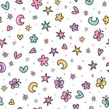 Cute seamless pattern with hand drawn cartoon elements for kids. Background in scandinavian style. Great for birthday, fabric, tex. Tile, cards. Vector stock illustration