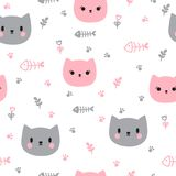 Cute seamless pattern with hand drawn cats. Background for little kids. Funny cartoon animals Royalty Free Stock Photography