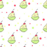 Cute seamless pattern with hand drawn cupcakes Royalty Free Stock Photography