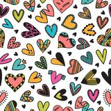 Cute seamless pattern with hand drawn hearts. Cute doodle elements. Background for wedding or Valentine`s Day design. Cute seamless pattern with hand drawn royalty free illustration