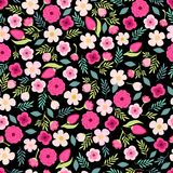 Cute seamless pattern with hand drawn rustic flowers. For your decoration Royalty Free Stock Images