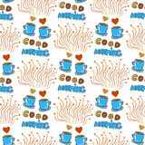 Cute seamless pattern with hand drawn sketchy tea and coffee cups, hearts and Good morning lettering Stock Photo