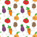 Cute seamless pattern with happy vegetables Stock Photos