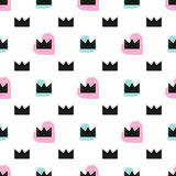 Cute seamless pattern with hearts and crowns. Vector illustration. stock illustration