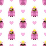 Cute seamless pattern with hearts and owls with crowns. Vector illustration. stock illustration