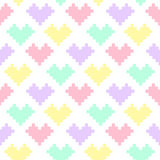 Cute seamless pattern of hearts in pastel colors on a white background. It can be used for packaging, wrapping paper, textile, phone case etc Stock Photos