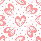 Cute seamless pattern with hearts and round dots. Drawn by hand,. Sketch, doodle. Girly vector illustration Stock Photo