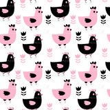 Cute seamless pattern with hens. Cute seamless pattern background with hens and flowers in pink and black for kids clothing, textile, invitations and Stock Photos