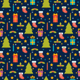 Cute seamless pattern. Holidays background with Christmas tree, Royalty Free Stock Photos