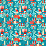 Cute seamless pattern with houses and trees Royalty Free Stock Photos
