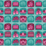 Cute seamless pattern with houses and trees Stock Photos