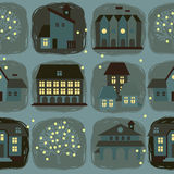Cute seamless pattern with houses and trees Royalty Free Stock Images