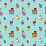 Cute seamless pattern with ice cream, soda, cake Stock Photography