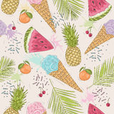 Cute seamless pattern with ice creams, pineapples. Stock Photos