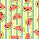 Cute seamless pattern of juicy slices of watermelon and vertical stripes. Fruit abstract background, vector illustration. Cute seamless pattern of juicy slices Royalty Free Stock Photo