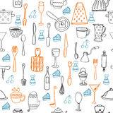 Cute seamless pattern with kitchen equipments Stock Photography