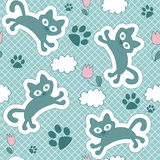 Cute seamless pattern with kittens Royalty Free Stock Image
