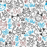 Cute seamless pattern with kittens Stock Photo
