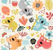 Cute pattern with koalas, flowers and branches. Cute seamless Stock Photo