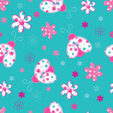 Cute seamless pattern with ladybugs and flowers Stock Photo