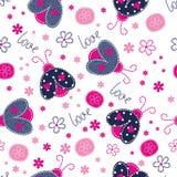Cute seamless pattern with ladybugs Stock Photo