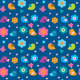 Cute seamless pattern with little birds and flowers Royalty Free Stock Photography