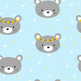 Cute seamless pattern for little boys with funny bear. Smile characters Stock Photo