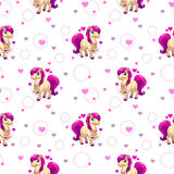 Cute seamless pattern with little cartoon horse Royalty Free Stock Photography