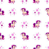 Cute seamless pattern with little cartoon horse Royalty Free Stock Image