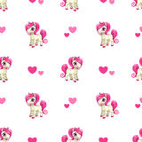 Cute seamless pattern with little cartoon pony Stock Photography