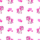 Cute seamless pattern with little cartoon pony Royalty Free Stock Photo