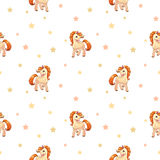 Cute seamless pattern with little cartoon pony Stock Images
