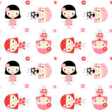 Cute seamless pattern with little girls Stock Photos
