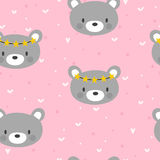 Cute seamless pattern for little girls with funny bear. Smile characters. Vector illustration Stock Photo