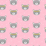 Cute seamless pattern for little girls with funny bears. Smile characters Stock Photography